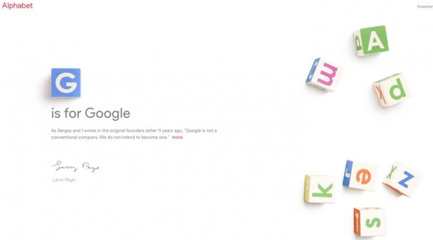 Google passa a uma letra do Alphabet(o) 2
