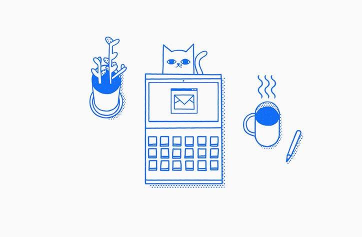 Gato com planta, computador e chávena de cafe - ícones
